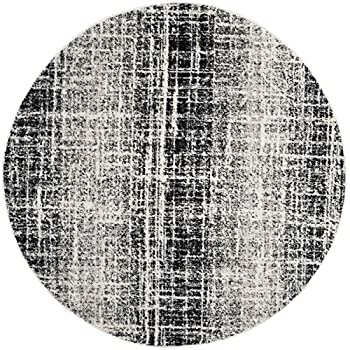 Safavieh Adirondack Collection ADR116B Ivory and Silver Modern Abstract Round Area Rug (6 Diameter)