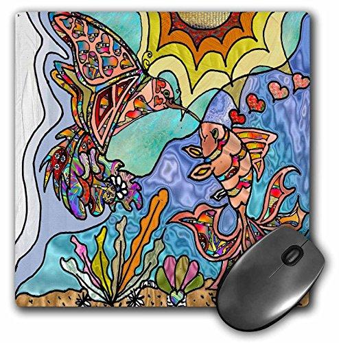 Lee Hiller Designs 60s Retro Psychedelic Print - Retro 60s Hummingbird Goldfish Reflections Art Print - MousePad (mp_46425_1)
