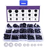 BESTCYC 1box(154pcs) 6/7/8/9/10/12/14/16/18/20/22/24mm Black Solid Plastic Safety Eyes Craft Safety Eyes DIY Eyes with Washers for Teddy Bear Doll Plush Animal Puppet Crafts (Color: Black)