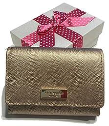 Kate Spade Newbury Lane Large Holly Business Card Case Holder WLRU2350 with Gift Box (Rose Gold)