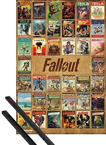 Poster + Sospensione : Fallout Poster Stampa (91x61 cm) 4, Magazine Compilation E Coppia Di Barre Porta Poster Nere 1art1®