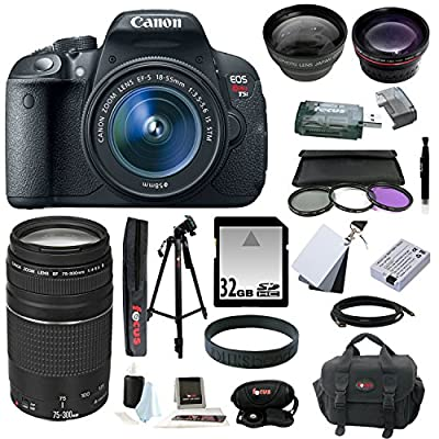 Canon EOS Rebel T5i 18.0 MP CMOS Digital Camera with EF-S 18-55mm f/3.5-5.6 IS STM Zoom Lens and EF 75-300mm f/4-5.6 III Telephoto Zoom Lens plus 32GB Deluxe Accessory Bundle