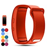 Feskio Samsung Gear Fit 2 Pro/Fit 2 SM-R360 Replacement Watch Band Strap Accessory Soft Silicone Wristband Strap Sport Band Bracelet for Samsung Gear Fit 2 Pro/SM-R360 Smartwatch (Color: Orange, Tamaño: Large)