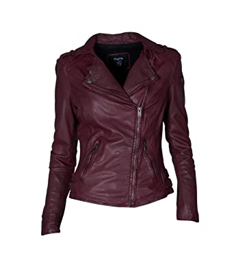 Damen TIGHA Lederjacke Alexandra in Bordeaux - berry