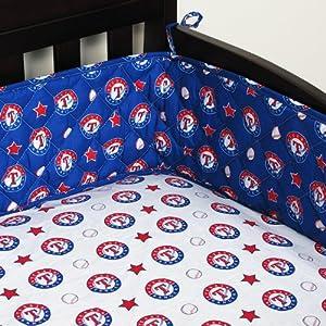 MLB Texas Rangers Crib Bumper Baseball Bedding Accessory by Sports Coverage