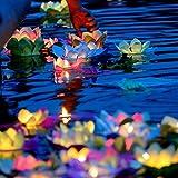 superdream Solar Power Energy Floating Lotus Flower LED Accent Light for Pool Pond Garden Night Light (Color: Multi-color)