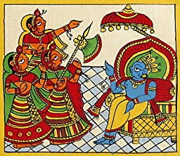 DollsofIndia Krishna as the King of Dwarka - Phad Painting - 6 x 5.5 inches