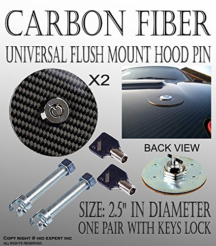 UNIVERSAL RACING Mount Bonnet Carbon Fiber Hood Latch Pin Key Locking Kit (Carbon Fiber Locking Hood Pins compare prices)