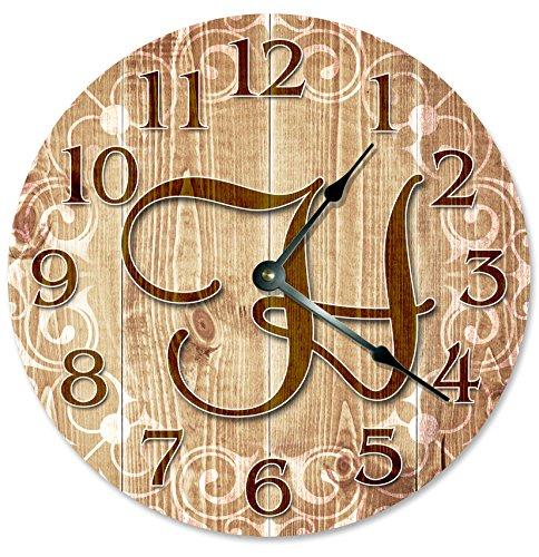 LETTER H MONOGRAM CLOCK Decorative Round Wall Clock Home Decor Large 10.5
