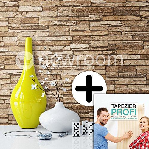 steintapete vlies braun beige sch ne edle tapete im steinmauer design moderne 3d optik f r. Black Bedroom Furniture Sets. Home Design Ideas