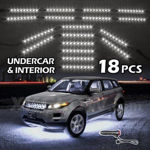 White Premium 18Pcs Underglow + Car Interior Three Mode Led Neon Accent Light Kit Waterproof Ultra Bright + Plug & Play Ultimate Coverage
