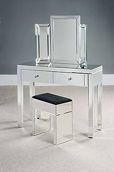 My-Furniture Madison Reflections - Tocador (estilo veneciano, con 2 cajones y 4 patas), diseño con efecto espejo