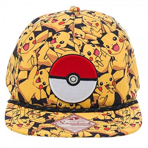 Pokemon-Go-gorro-amarillo-Pikachu-Tapa-bordado-Strapback-One-size-round