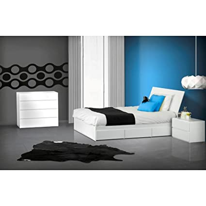 Modern White Twin Size Bedroom Set Nightstand Drawer Chest FMP25170