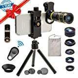 Godefa Cell Phone Camera Lens with Tripod+ Shutter Remote,6 in 1 18x Telephoto Zoom Lens/Wide Angle/Macro/Fisheye/Kaleidoscope/CPL, Clip-On lense Compatible for iPhone X 8 7 6s Plus, Samsung and More (Color: 18X Lens Kit)