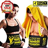"Ezy Fitness Waist Trimmer Ab Belt for Men & Women - Waist Trainer Made of Neoprene 10"" Width & Fits up to 46"" in Length - Low Back & Lumbar Support - Abdominal Trainer & Acts As Abs/Core Trainer"