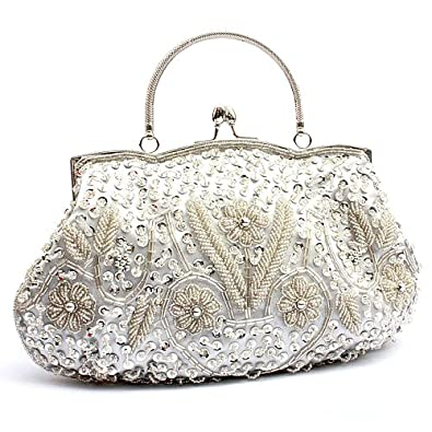 MZZ BEA133 Vintage Silver Beaded Bridal Bag Evening Party Purse Wedding Clutch W Chain Handbags ...