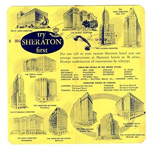 Park Sheraton Hotel Receipt New York City 1952 (Hotel Receipts compare prices)
