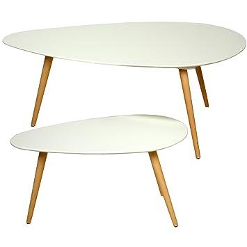 PAME 40761 - Set de 2 mesas auxiliares, madera, 116 x 66 x 45 cm y 75 x 43 x 39 cm