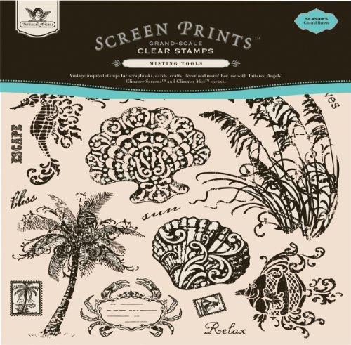 Tattered Angels 12-Inch by 12-Inch Screen Prints Grand Scale Clear Stamps, Seaside Coastal Breeze, 15-Piece