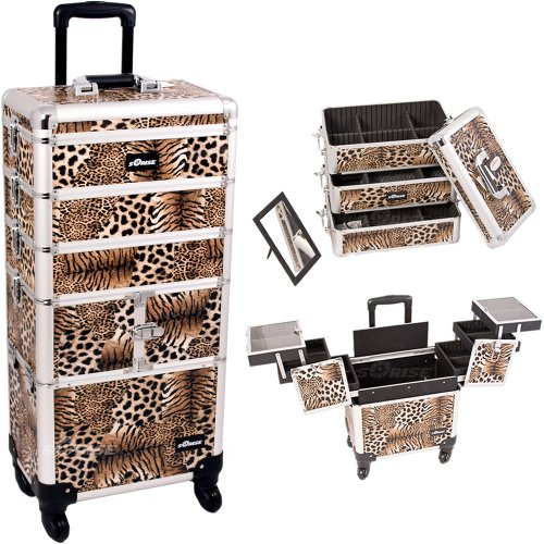 33.25 Inch 360 Degree Rotating Wheels 4 In 1 Leopard Print Professional Travel Trolley Makeup Case W/ Extendable Trays