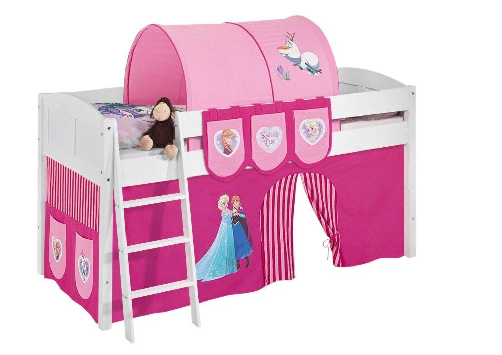 Spielbett IDA 4106 Eiskönigin Rosa – Teilbares Systemhochbett LILOKIDS – weiß – mit Vorhang online kaufen