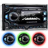 XOMAX-XM-2CDB620-Autoradio-mit-CD-Player-Bluetooth-Freisprecheinrichtung-Musikwiedergabe-3-Farben-einstellbar-Rot-Blau-Grn-USB-Anschluss-bis-128-GB-Micro-SD-Kartenslot-bis-128-GB-fr-MP3-und-WMA-AUX-IN