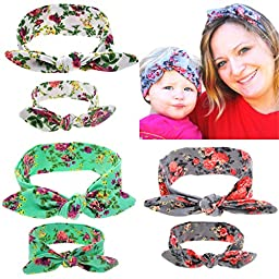 PGXT Parent Child Bow Floral Soft Turban Headband Head Wrap Knotted Hair Band 3-Piece Rabbit ears