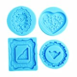 YunKo 4 Pack Heart Rose Round Mirror Frames Silicone Molds Fondant Cake Decoration Molds (Tamaño: 4 Heart Round Mirror Frames)