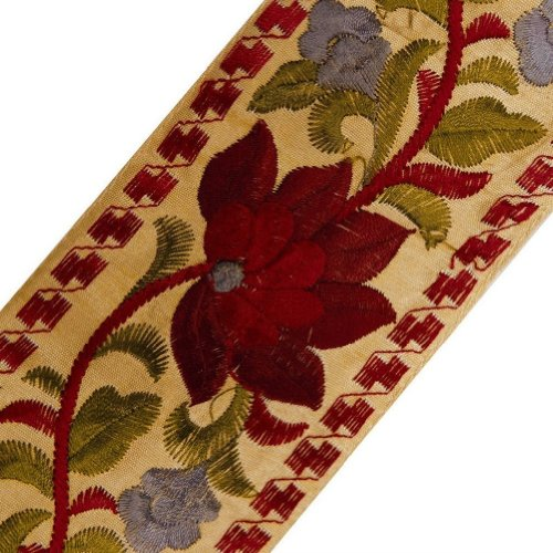 Wide Beige Jacquard Ribbon Trim Red Flower Design Lace Sewing Craft India 4.5 Yd