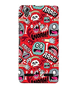 ANIMATED MONSTERS IN A RED BACKGROUND 3D Hard Polycarbonate Designer Back Case Cover for Lenovo A6000 Plus