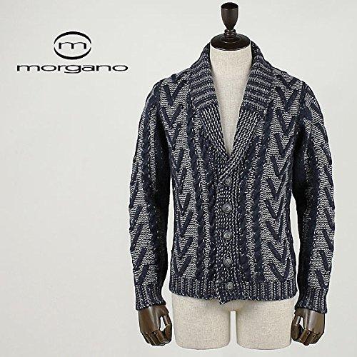 ネイビー(C75) 46 MORGANO モルガーノ メンズ アルパカ混ウール ショールカラーニットカーディガン 686027/1070 (ネイビー)
