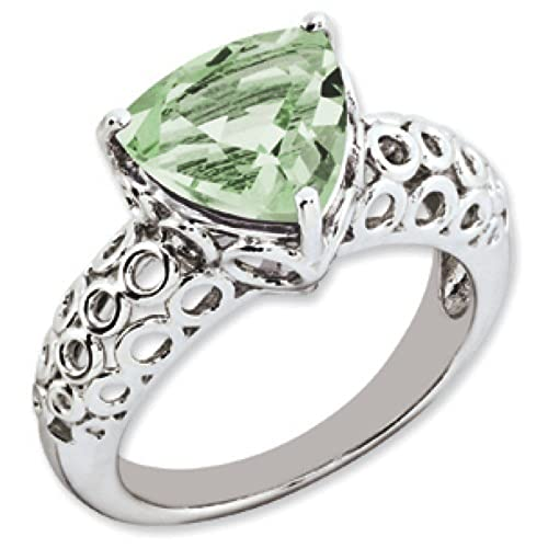 Sterling Silver Green Quartz Ring - Ring Size Options Range: J to T
