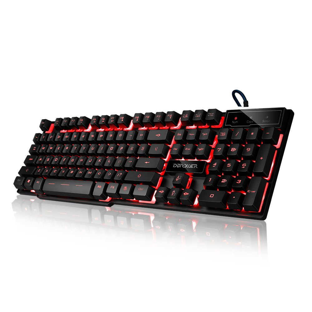 DBPOWER DB-A8 Mechanical Feel Gaming Keyboard, LED Three Color Backlit USB Wired Game Keyboard (Black)