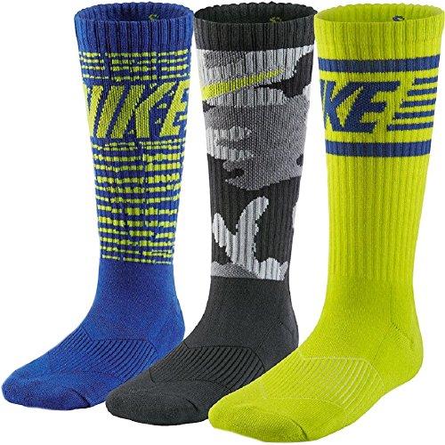 Nike Big Boys' Performance Graphite Camo Crew Socks 3 Pack (Small, Royal/Cyber/Grey)
