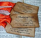 Thanksgiving Prayer Tags Table Decor Vintage Style Set of 10 with Ribbon Choice