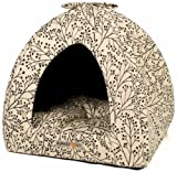 Alpha Pooch Napper Cat Den, Black Berry Branch Fabric with Black Solid Interior
