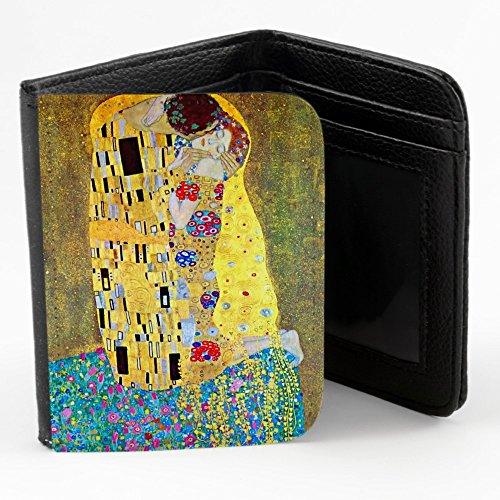 Klimt - The Kiss 2, Progettato Nero Unisex Piccolo Portafoglio Borsa con Motivo Colorato.