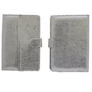 Jo Jo G5 Bling Flip Flap Case Cover Pouch Carry For Mapmyindia Buzz Silver White