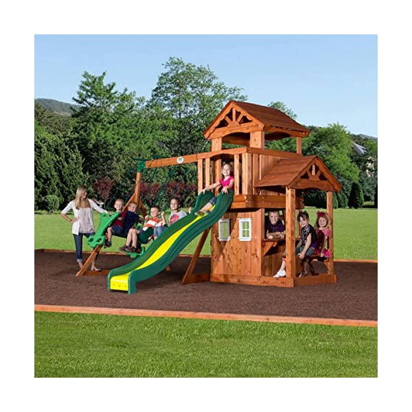 Home ... - Backyard Discovery Tanglewood All Cedar Wood Playset Swing Set