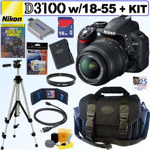 Nikon D3100 14.2MP Digital SLR Camera with 18-55mm f/3.5-5.6 AF-S DX VR Nikkor Zoom Lens + 16GB Deluxe Accessory Kit at Sears.com
