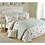 Country Cottage Duvet Cover with Floral Bird & Butterfly in Neutral Cream Green Green ( Beige Cream ) Single