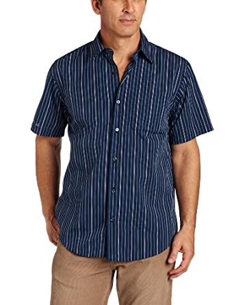 Van heusen men 39 s cvc wrinkle free dressy stripe shirt for Wrinkle free dress shirts amazon