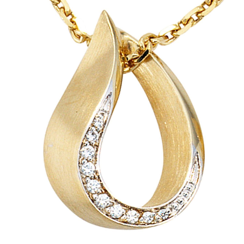 Damen Gold Anhänger 585 Gold Gelbgold teilrhodiniert teilmattiert 10 Diamanten Brillanten günstig kaufen