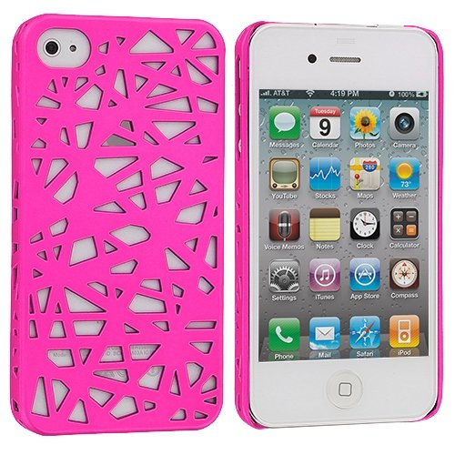 Cell Accessories For Less (Tm) Hot Pink Birds Nest Hard Rubberized Back Cover Case For Apple Iphone 4 / 4S + Bundle (Stylus & Micro Cleaning Cloth) - By Thetargetbuys