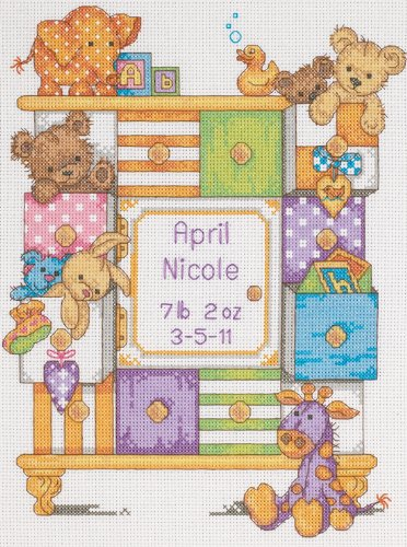 Dimensions Needlecrafts Counted Cross Stitch, Baby Drawers Birth Record front-692731
