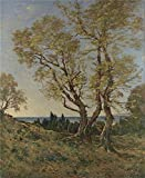'Henri Joseph Harpignies Olive Trees At Menton ' Oil Painting, 10 X 12 Inch / 25 X 31 Cm ,printed On High Quality Polyster Canvas ,this Amazing Art Decorative Prints On Canvas Is Perfectly Suitalbe For Game Room Decor And Home Decor And Gifts