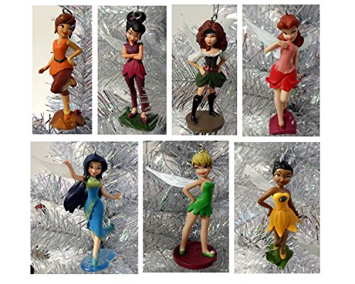 Tinker Bell The Pirate Fairy Set of 7 Holiday Christmas Tree Ornaments Featuring Tinker Bell, Zarina, Iridessa, Rosetta, Fawn, Silvermist, ande Vidia – Shatterproof Plastic Ornaments Range from 3″ to 3.5″ Tall