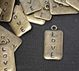 8 x Antique Bronze LOVE Pendant Tag Charms with Jump Rings included for attachments Ref9B27