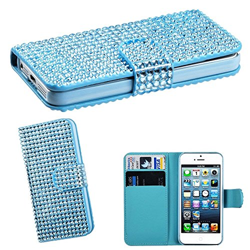 Mylife Shimmering Sky Blue - Rhinestone Design - Textured Koskin Faux Leather (Card And Id Holder + Magnetic Detachable Closing) Slim Wallet For Iphone 5/5S (5G) 5Th Generation Smartphone By Apple (External Rugged Synthetic Leather With Magnetic Clip + In